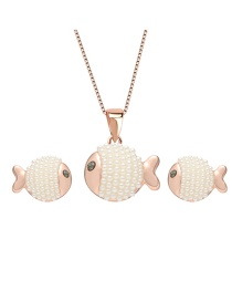 Fashion Rose Gold Fish Shape Decorated Jewelry Sets