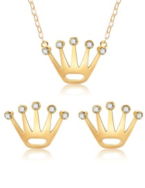 Fashion Gold Color Crown Shape Decorated Jewelry Sets