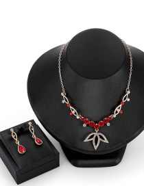 Fashion Red Leaf Shape Decorated Jewelry Sets
