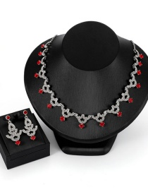 Fashion Red Full Diamond Decorated Jewelry Sets