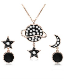 Fashion Rose Gold Moon&star Shape Decorated Jewelry Sets