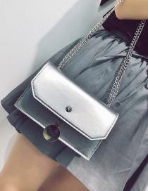Fashion Silver Color Pure Color Decorated Bag