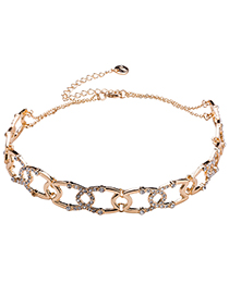 Fashion Gold Color Hollow Out Design Full Diamond Decorated Necklace