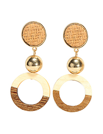 Fashion Yellow Round Shape Decorated Earrings