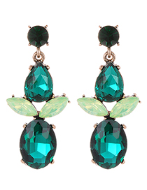 Fashion Green Waterdrop Shape Decorated Earrings