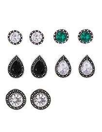 Fashion Silver Color Geometric Shape Decorated Earrings(5 Pairs)