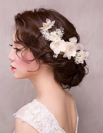 Fashion Beige Flower Shape Decorated Hair Accessories