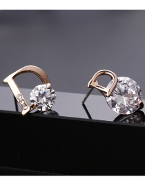 Fashion Gold Color Letter D Shape Decorated Earrings