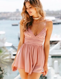 Sexy Pink Pure Color Decorated V Neckline Dress