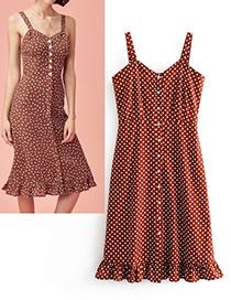 Vintage Claret Red Spot Pattern Decorated Dress