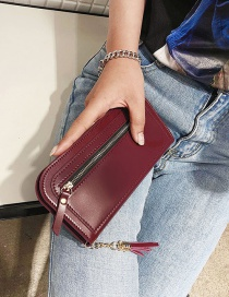 Fashion Red Zipper Decorated Wallet