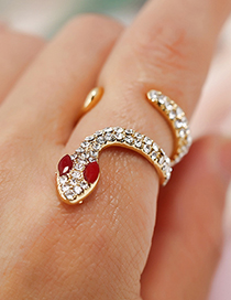 Fashion Gold Color Snake Shape Decorated Ring