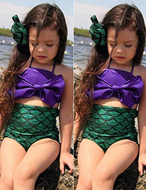 Fashion Green Mermaid Shape Decorated Swimwear For Baby
