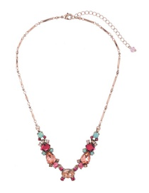 Fashion Plum Red Water Drop Shape Decorated Necklace