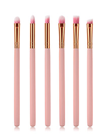 Fashion Pink Pure Color Decorated Makeup Brush (6 Pcs )