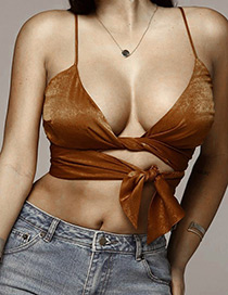 Sexy Brown Pure Color Decorated Vest