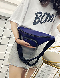 Fashion Blue Zipper Decorated Bag