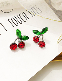 fashion Silver Color Cherry Shape Decorated Earrings