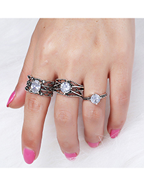 Vintage Silver Color Pure Color Decorated Ring (3 Pcs )