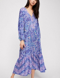 Fashion Purple Flower Pattern Decorated V Neckline Dress