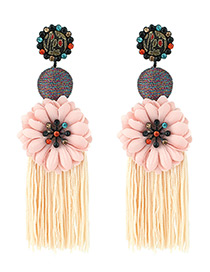 Elegant Light Yellow Flower Decorated Long Tassel Earrings