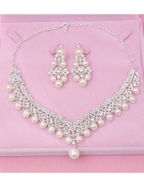 Fashion Silver Color+white Pearl Decorated Jewelry Set (3 Pcs )