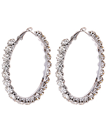 Fashion Silver Color Full Diamond Decorated Earrings (small)