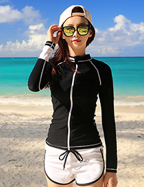 Sexy Black Long Sleeves Design Casual Swimsuit(3pcs)