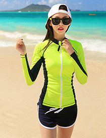 Sexy Light Green Long Sleeves Design Casual Swimsuit(3pcs)