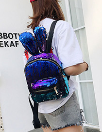 Lovely Blue Rabbit Ears Shape Decorated Backpack