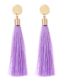 Fashion Purple Tassel Decorated Long Earrings