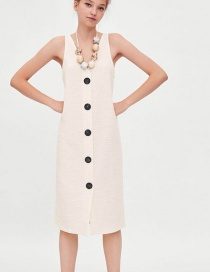 Fashion White Pure Color Design Sleeveless Dress