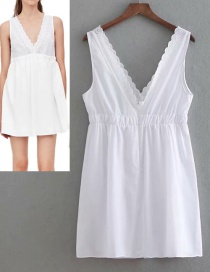 Fashion White Pure Color Decorated V Neckline Dress