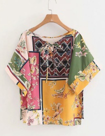 Fashion Multi-color Flower Pattern Decorated Round Neckline Blouse