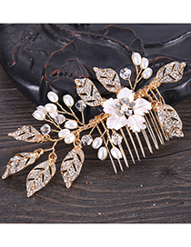 Elegant Gold Color Flowers&leaf Shape Design Hair Comb