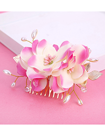 Elegant Pink Leaf&flowers Decorated Hair Comb