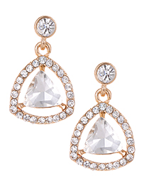 Fashion Gold Color Full Diamond Decorated Triangle Earrings