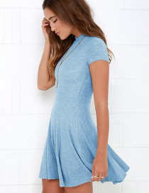 Fashion Blue Pure Color Decorated Round Neckline Dress