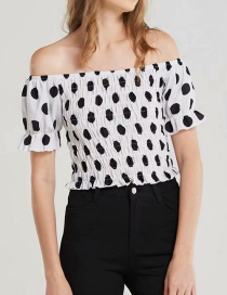 Fashion White Spot Pattern Decorated Off Shoulder Shirt