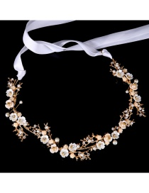 Fashion Gold Color Flower Shape Decorated Hair Band