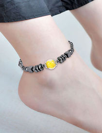 Fashion Black Geometric Shape Decorated Ankle Chain