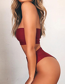 Sexy Claret Red Pure Color Decorated Swimwear