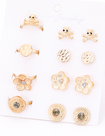 Fashion Gold Color Flower&skull Shape Decorated Earrings&Rings (12 Pcs )
