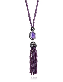 Fashion Purple Tassel Decorated Necklace