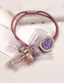 Fashion Purple Bead Decorated Hair Band