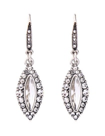 Fashion Silver Color Oval Shape Decorated Earrings