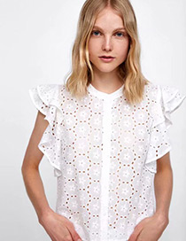 Fashion White Hollow Out Design Pure Color Shirt