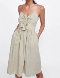 Fashion Khaki V Neckline Design Pure Color Suspender Dress