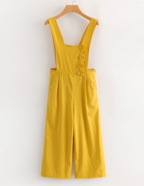 Fashion Yellow Pure Color Decorated Jumpsuit