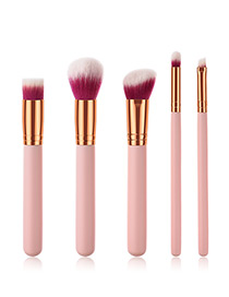 Fashion Gold Color+pink Oblique Shape Decorated Makeup Brush (5 Pcs )